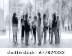 abstract image of people in the ... | Shutterstock . vector #677824333