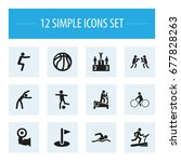 set of 12 editable sport icons. ... | Shutterstock .eps vector #677828263