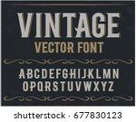 Vector vintage label font. Retro font. | Shutterstock vector #677830123