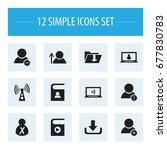 set of 12 editable global icons....