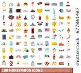 100 honeymoon icons set in flat ...   Shutterstock . vector #677861467