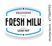 milk label vintage blue  vector | Shutterstock .eps vector #677869993