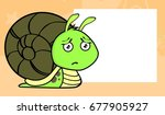 sad little snail cartoon... | Shutterstock .eps vector #677905927