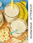 useful banana smoothie with... | Shutterstock . vector #677926123