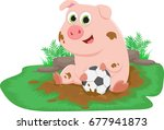 cute pig play ball in a mud... | Shutterstock .eps vector #677941873