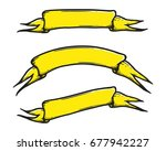 set of hand drawn banner vector ... | Shutterstock .eps vector #677942227