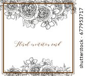 invitation with floral...   Shutterstock .eps vector #677953717
