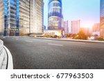 asphalt road in lujiazui... | Shutterstock . vector #677963503