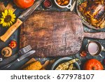 thanksgiving dinner background... | Shutterstock . vector #677978107