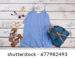 stylish women dress bagpack and ... | Shutterstock . vector #677982493
