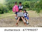 go to school little poor asian... | Shutterstock . vector #677998357