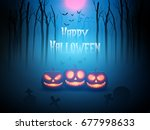 pumpkin in forest of death.... | Shutterstock .eps vector #677998633