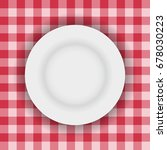 white plate on a picnic table...   Shutterstock .eps vector #678030223