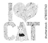 word i love cat for coloring.... | Shutterstock .eps vector #678033763
