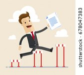 businessman jumping over... | Shutterstock .eps vector #678047383