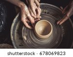 hands of the master potter and... | Shutterstock . vector #678069823