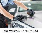 car detailing   man applies... | Shutterstock . vector #678074053