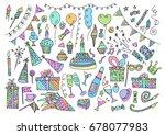 birthday party elements vector... | Shutterstock .eps vector #678077983