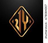 golden monogram logo curved... | Shutterstock .eps vector #678084007