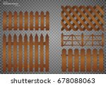 wooden fence. set  isolated on... | Shutterstock .eps vector #678088063