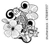 beautiful doodle art koi carp... | Shutterstock .eps vector #678089557