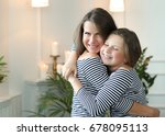 family. mother with daughter at ... | Shutterstock . vector #678095113