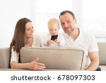 happy family of three  is... | Shutterstock . vector #678097303