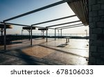 big empty terrace at sunset | Shutterstock . vector #678106033