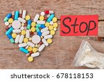 stop use drugs how to. pills... | Shutterstock . vector #678118153
