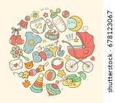 newborn infant themed cute... | Shutterstock . vector #678123067