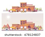 vector low poly 2d warehouse... | Shutterstock .eps vector #678124837