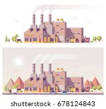 vector low poly 2d factory scene | Shutterstock .eps vector #678124843