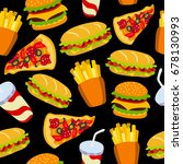 fast food pattern on a black... | Shutterstock .eps vector #678130993