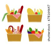 baskets of food  vegetables ... | Shutterstock .eps vector #678164647