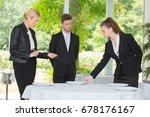 restaurant manager supervises... | Shutterstock . vector #678176167