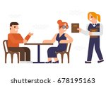 people are dinner at a ... | Shutterstock .eps vector #678195163