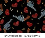 embroidery guns and hearts.... | Shutterstock .eps vector #678195943