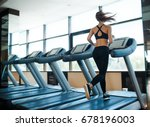 young woman running on... | Shutterstock . vector #678196003