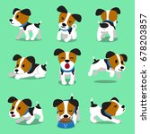 Stock vector cartoon character jack russell terrier dog set 678203857