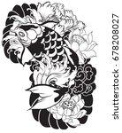 hand drawn koi  carp fish with... | Shutterstock .eps vector #678208027