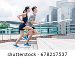sport couple running together | Shutterstock . vector #678217537
