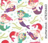 seamless pattern with mermaid   ... | Shutterstock .eps vector #678256663