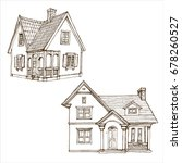 victorian cute little houses... | Shutterstock .eps vector #678260527