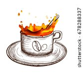 coffee splash and hand drawn... | Shutterstock .eps vector #678288337