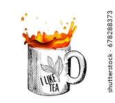 tea splash and hand drawn cup... | Shutterstock .eps vector #678288373