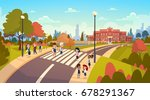 group of pupils walking on... | Shutterstock .eps vector #678291367