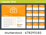 calendar for 2018 year. week...   Shutterstock .eps vector #678295183