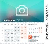 november 2018. calendar for... | Shutterstock .eps vector #678295273