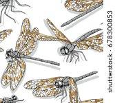 seamless pattern with golden... | Shutterstock .eps vector #678300853