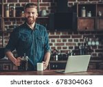 handsome bearded young man is... | Shutterstock . vector #678304063